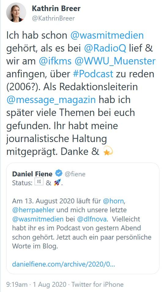 Tweet zum Ende von WAs mit Medien